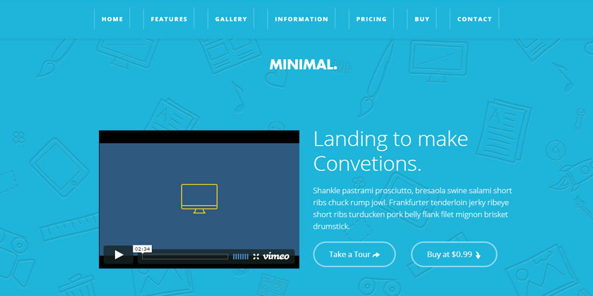 Minimal Landing Page Template For Books Software And Apps - Video landing page templates